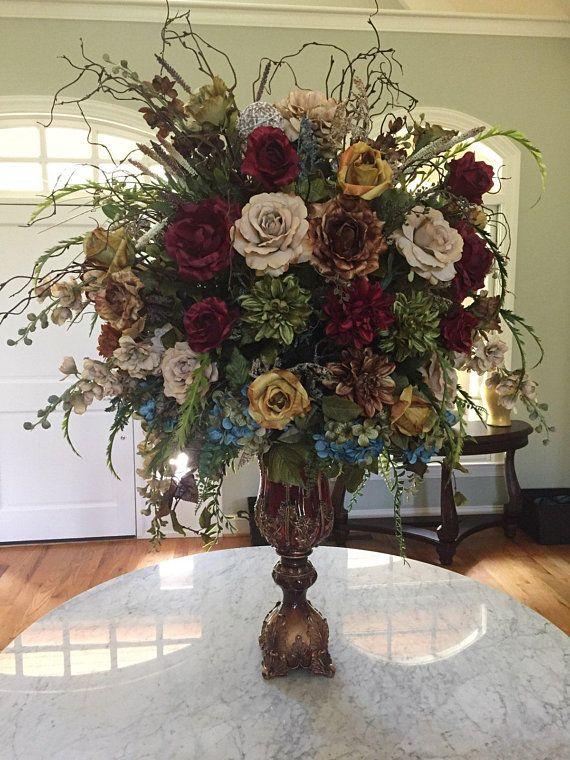 Tall Floral Arrangement Xl Elegant Large Tuscan Floral Centerpiece Shipping In Arreglos Florales Artificiales Centros Florales De Mesa Bellos Arreglos Florales