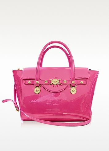 25e056fa Large Signature Patent Leather Tote | Purses! | Versace, Versace bag ...