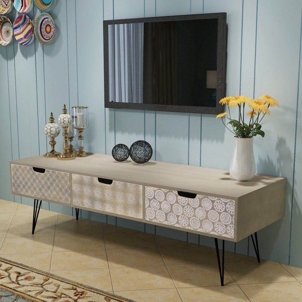 Tv Cabinet With 3 Drawers 120x40x36 Cm Grey Living Room Tv Cabinet Designs Living Room Tv Grey Furniture Living Room
