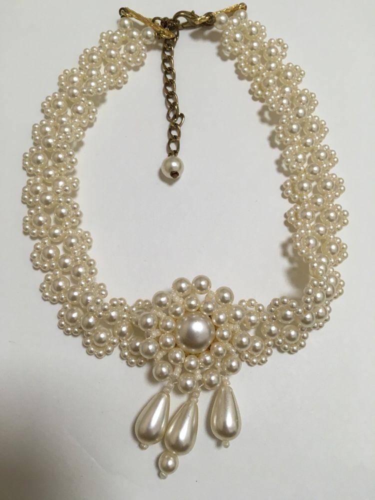 Costume Faux Pearl Choker Necklace | eBay  sc 1 st  Pinterest & Costume Faux Pearl Choker Necklace | Pearl choker necklace Pearl ...