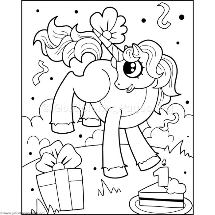 Free Instant Downloads Unicorn and Cake Coloring Pages