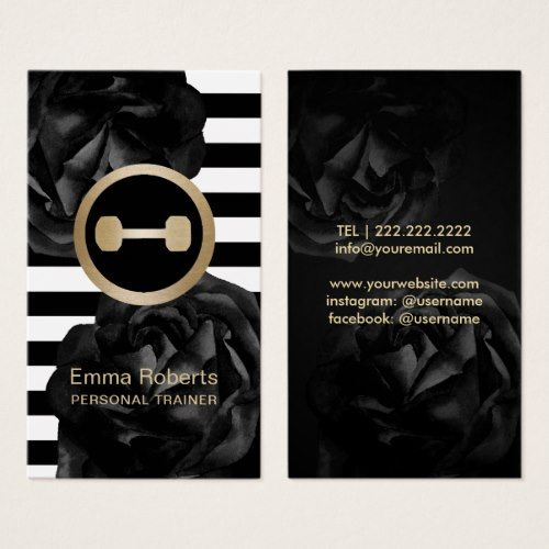 Fitness Personal Trainer Black Floral Stripes Business Card - girl gifts special unique diy gift idea