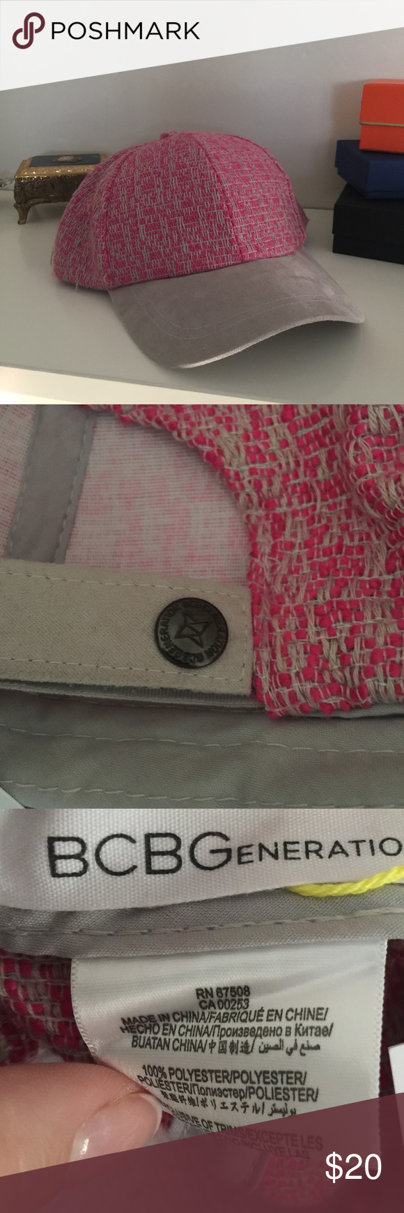 BCBG Pink & Gray Woven Hat w/ Suede brim • NWOT BCBG Pink & Gray Woven Hat w/ Suede brim • Velcro Adjustable Back • NWOT • LOVE 💕 the item, but not the price? Send me a reasonable offer through the offer button! 🔵  S😢RRY, Offers will NOT be negotiated through comments  Smoke FREE 🚭 Pet FREE Home Sorry No 🚫Trades! N🚫 Lowball Offers Please 😉 N🚫 Transactions OFF of Poshmark  Please be considerate when posting a rating. Make sure that you have read the ENTIRE listing CAREFULLY PRIOR to…