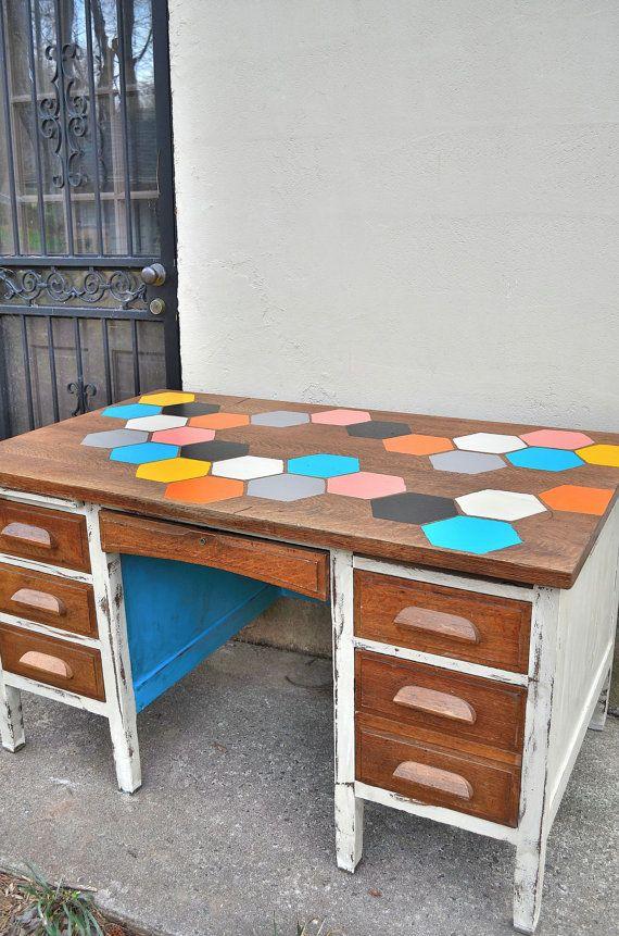 Painted Furniture Painted Vintage Desk Honeycomb By Blacksheepmill Vintage Desk Furniture Painted Furniture