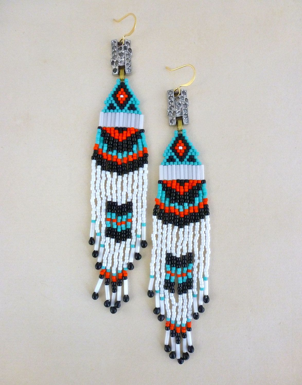 Tribal Turquoise Coral Chandelier Earrings