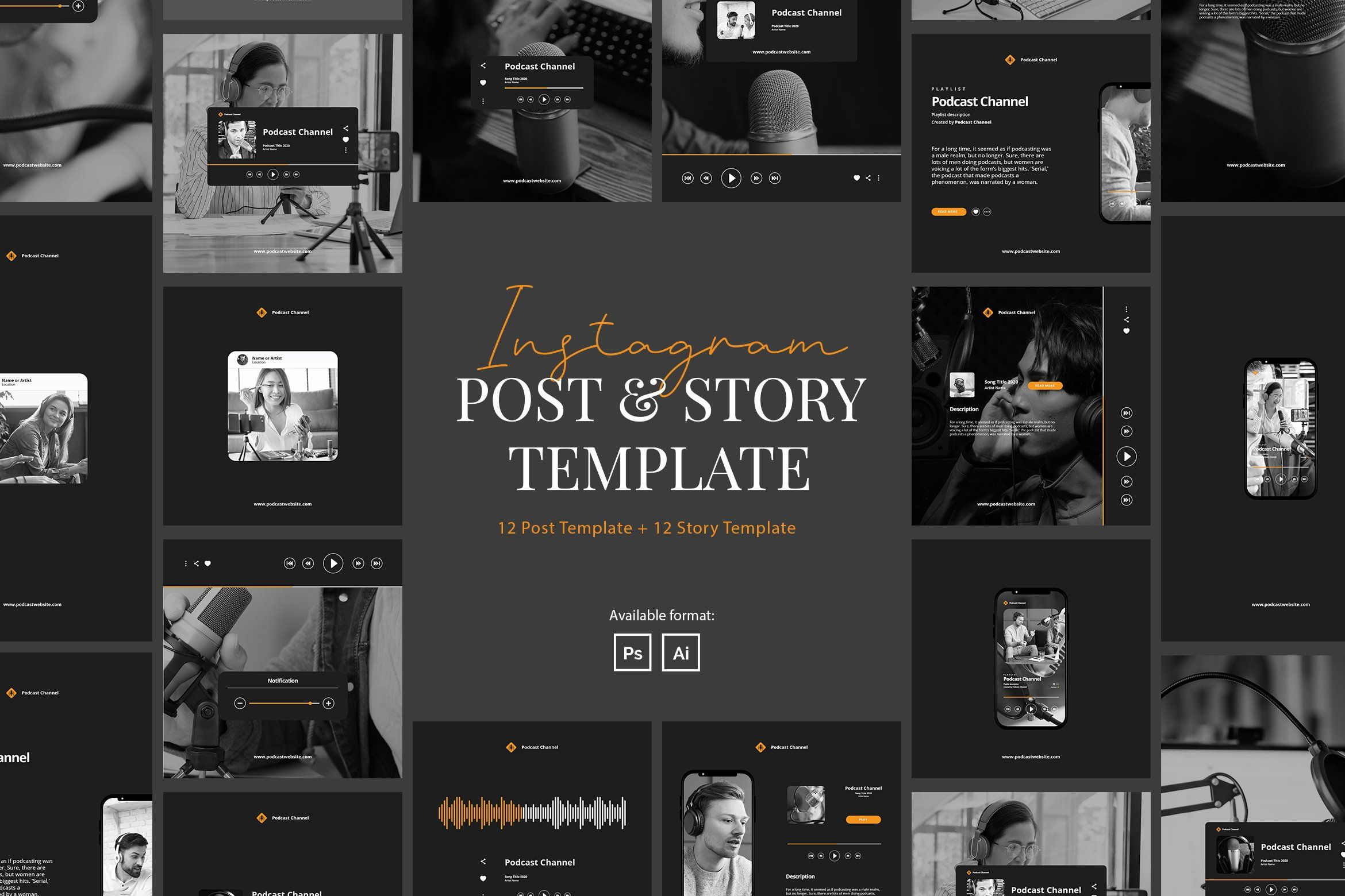 Podcast Instagram Pack Template With A Modern Theme This Template Is Ideal For Artist Podcaster Mentor Coach We Story Template Podcasts Instagram Template