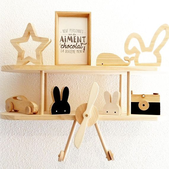 Wooden airplane shelf, baby and child bedroom decoration