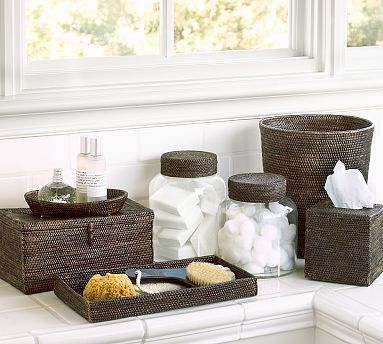 Tava Bath Accessories #potterybarn - Light brown color (tray, tissue box and waste basket purchased along with hand towels  (truffle and white))