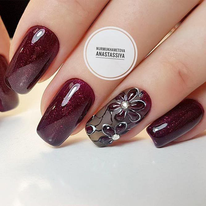 21 Stunning Burgundy Nails Designs That will Conquer Your Heart: Hand  Painted Art #burgundy - 21 Stunning Burgundy Nails Designs That Will Conquer Your Heart