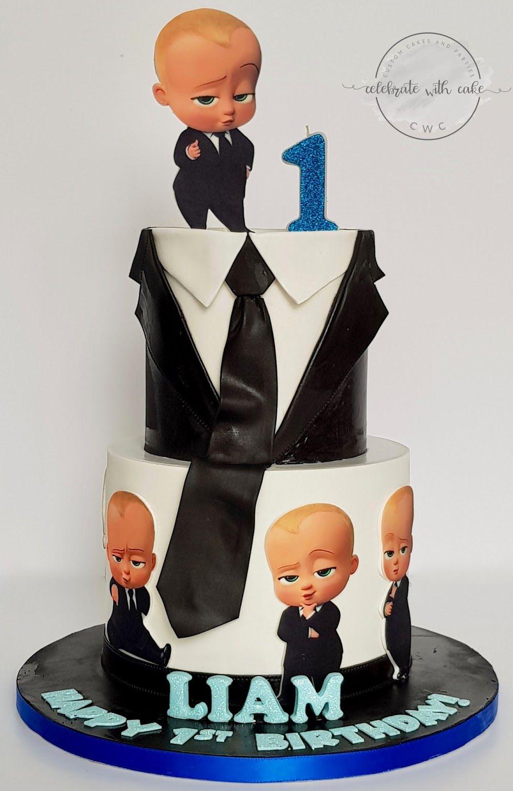 Baby boss 2 tiers 1st birthday cake baby birthday party