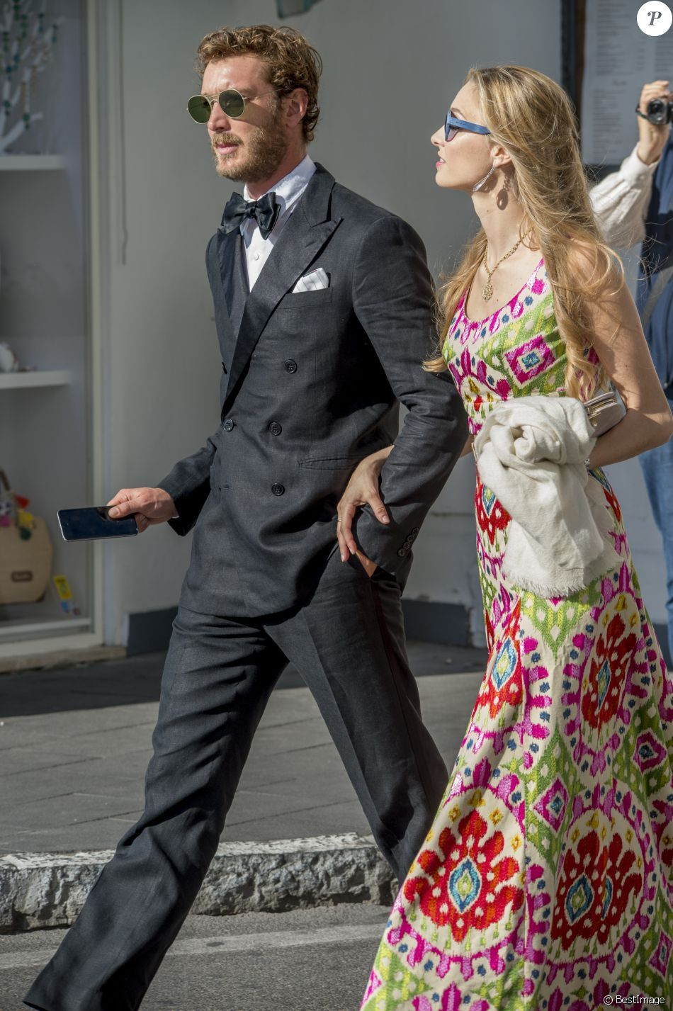 10 June 2016 - Pierre and Beatrice at the wedding of Giovanna Battaglia to Oscar Engelbert in Capri, Italy
