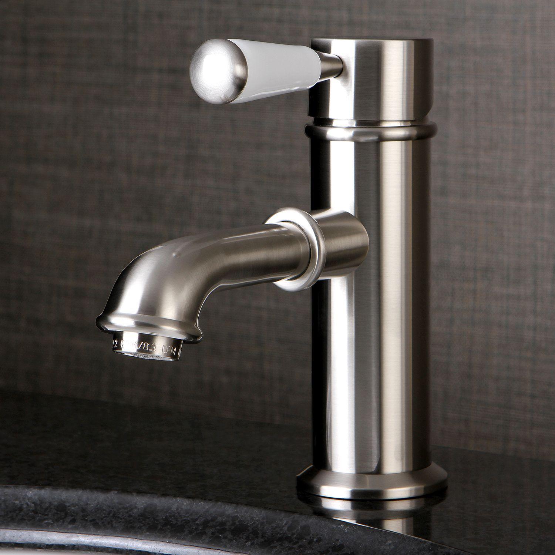 Kingston Brass Single-Hole Satin Nickel Bathroom Faucet (Porcelain ...