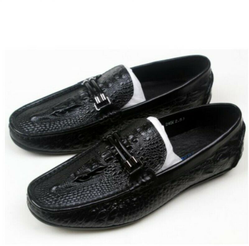 Men/'s New Fashion alligator Print Leather Driving Moccasin Loafers Casual Shoes