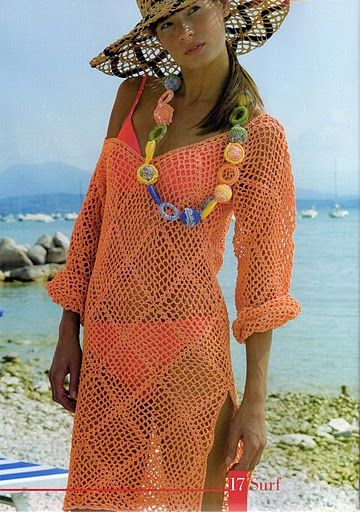 Easy beach coverup with diagram | Tejido | Pinterest | Tejido, Moda ...