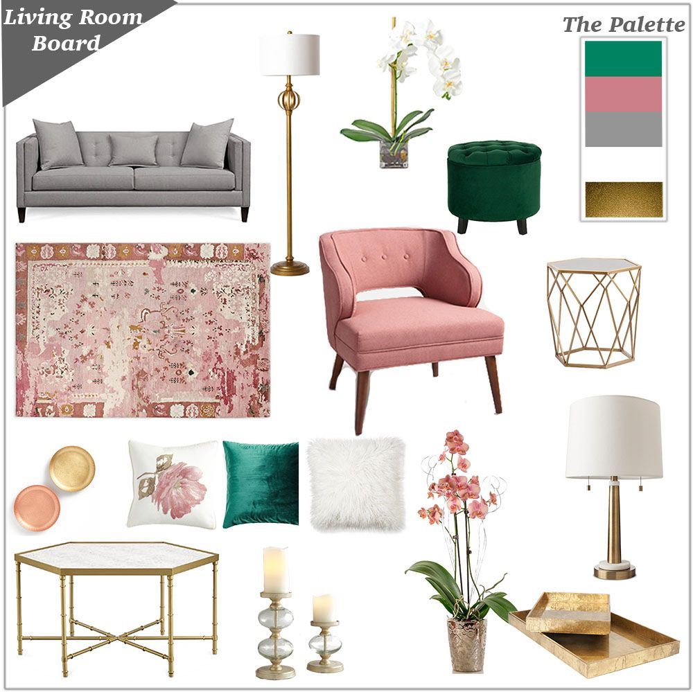Feminine and girly living room inspiration board in grey and white with blush pink dusty rose emerald green and gold accents