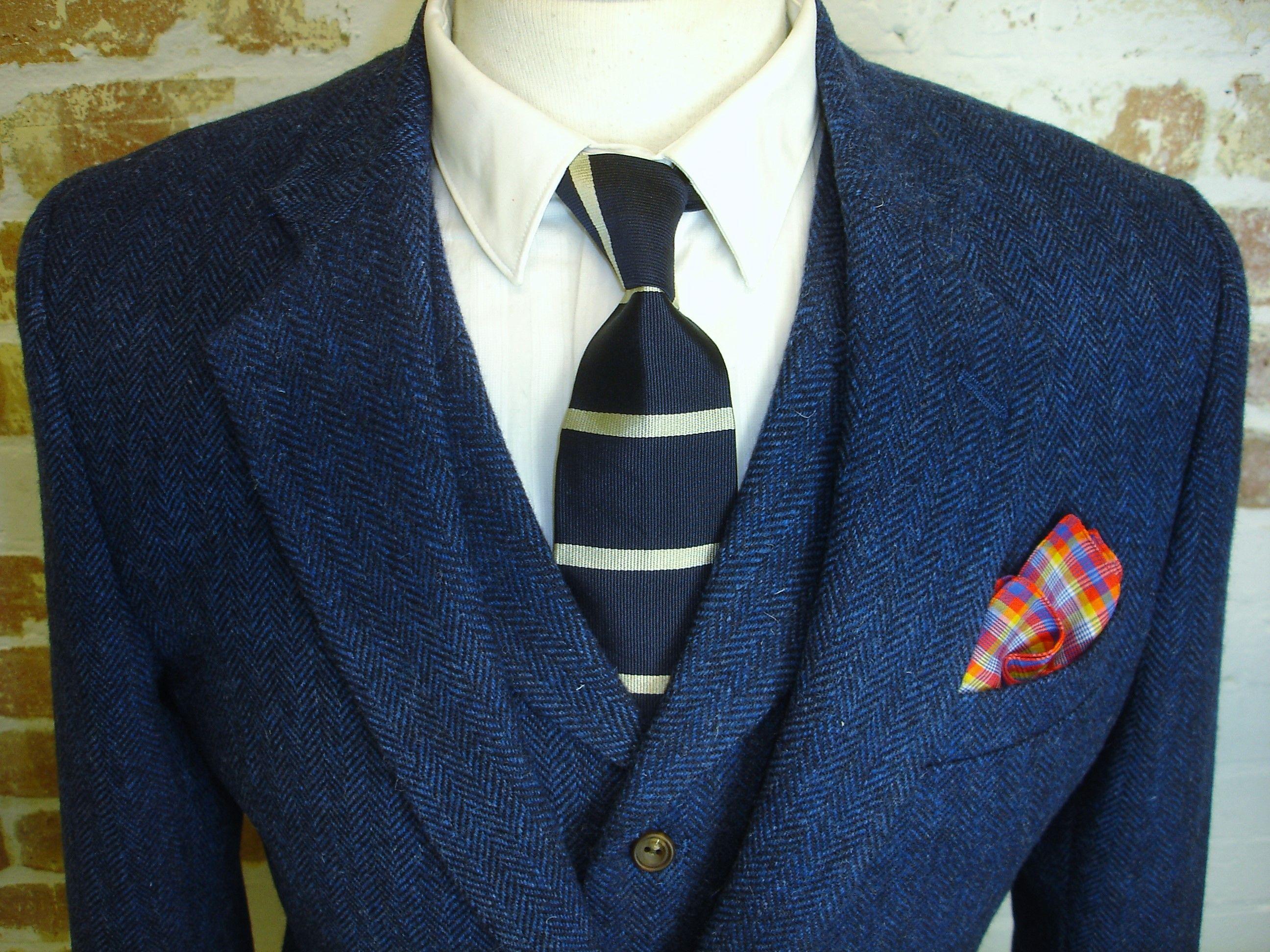 3 Piece Tweed Wedding Suit in Blue Herringbone Shetland Tweed | 3 ...