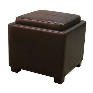 Sensational Venzia Bonded Leather Square Ottoman Brown Unique Gmtry Best Dining Table And Chair Ideas Images Gmtryco