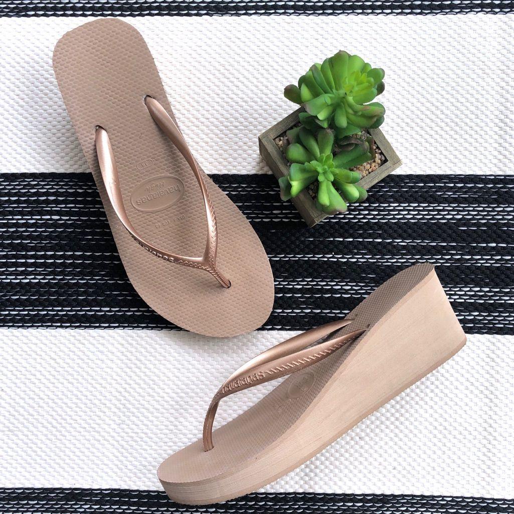Havaianas High Fashion Gold Wedge Flip Flop Wedge Flip Flops Gold Fashion Gold Wedges