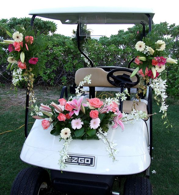 Golf Course Wedding - Golf Cart For Bride And Groom