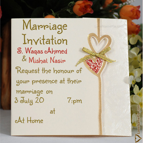S Waqas Ahmed Name Picture Marriage Invitation Cards Designs Online Marriage Invitations Marriage Invitation Card Wedding Invitation Card Design