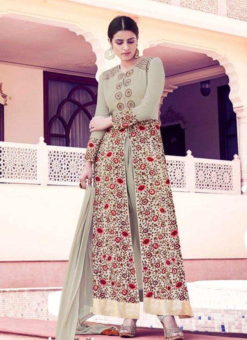 buy saree online designer pista green colour georgette party wear