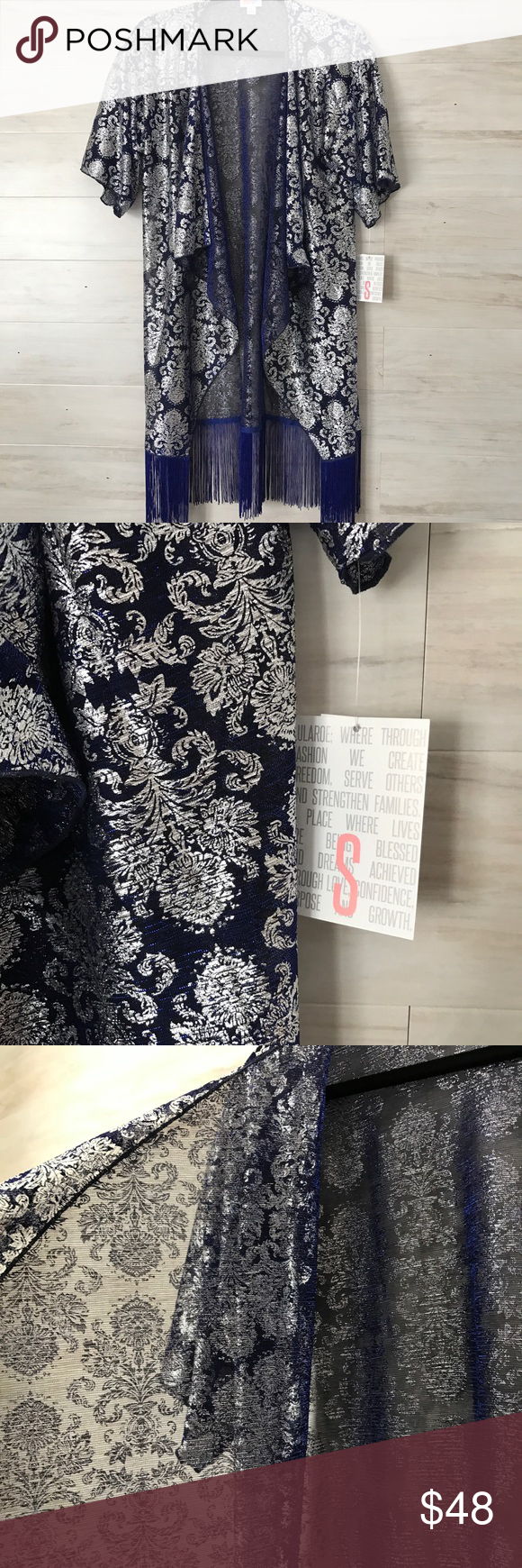 NWT Elegant Monroe Kimono Stunning blue and silver Monroe kimono by LuLaRoe. Beautiful dark blue fringe along the bottom. Slightly sheer so it's lightweight and perfect for layering. Easy way to dress up an outfit. From the Elegance Collection. Size S. NWT never worn. Bundle to save or make an offer! LuLaRoe Tops