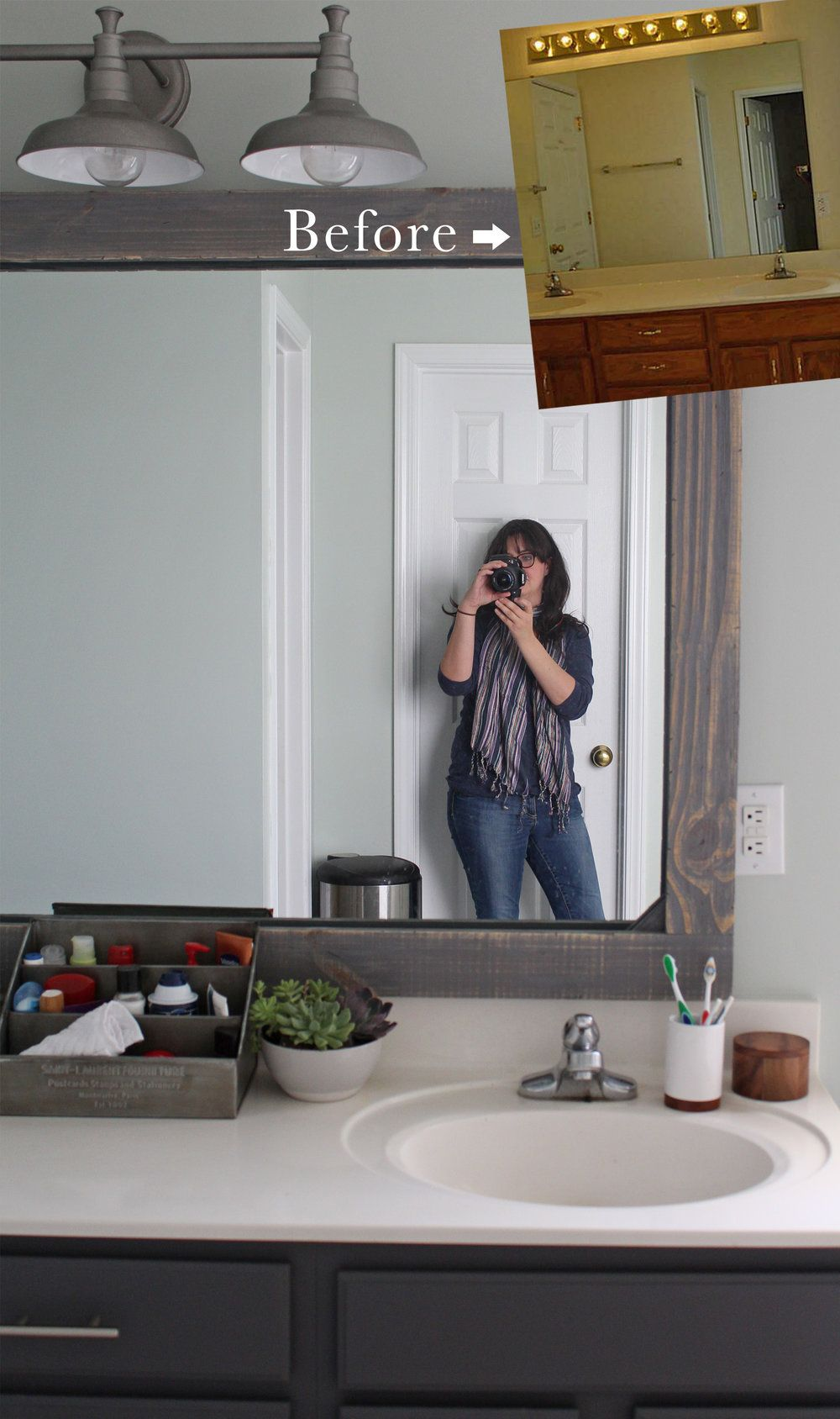 How To Frame A Mirror With Wood Tag Tibby Design Bathroom Mirror Makeover Rustic Mirror Frame Bathroom Mirrors Diy