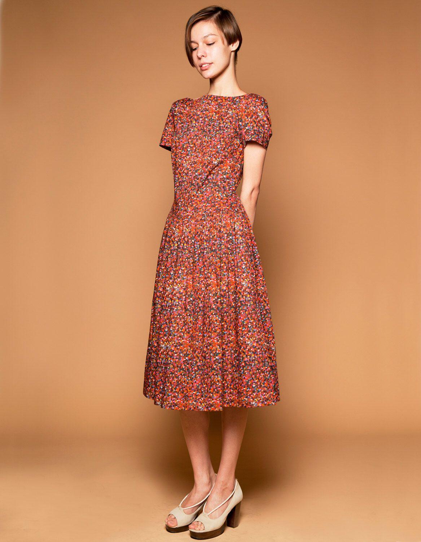 1950s floral dress 1950s holiday dress 1950s midi dress Drop waist ...
