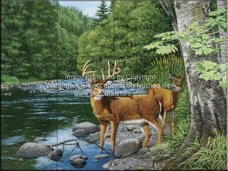 Wilderness Deer Tile Mural Deer painting, Deer art
