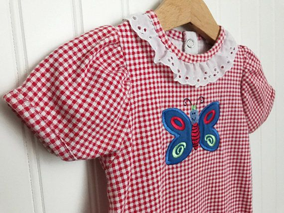 2b8f5ee37309 Vintage Baby Girl Health-tex Red Gingham Knit Embroidered Butterfly Romper