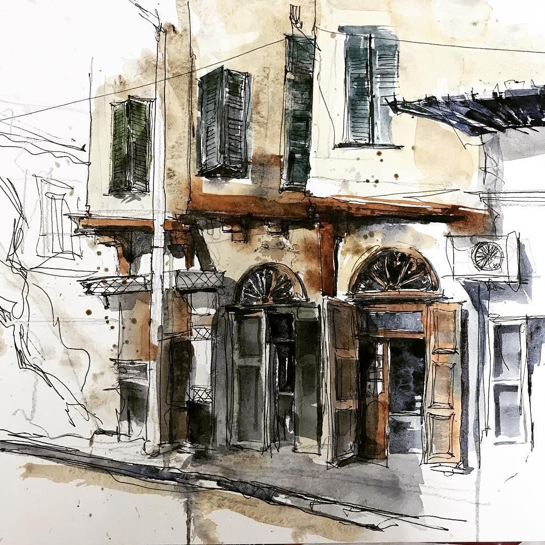 Epingle Par Art Arch A R I Sur Urban Sketches Aquarelle