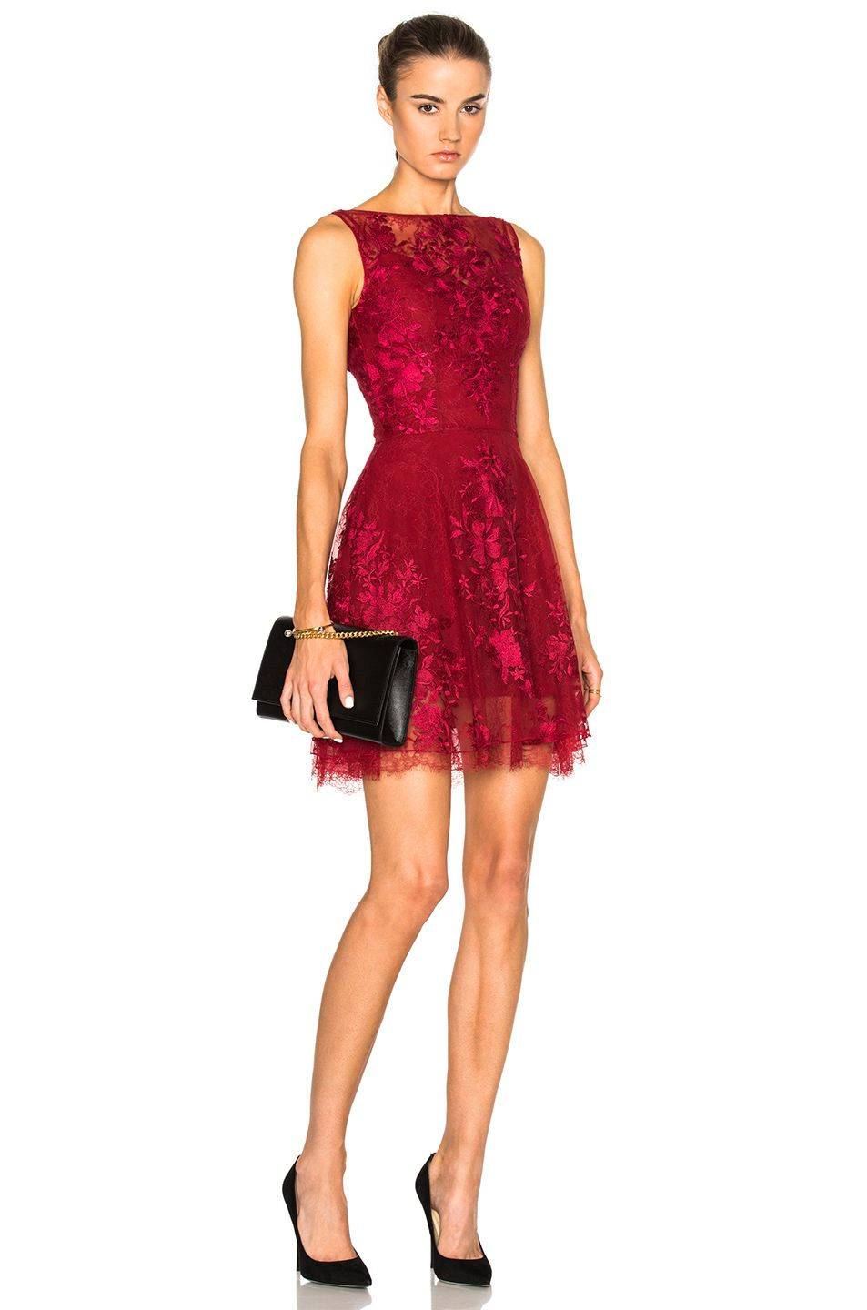zuhair murad lace mini dress in red. in scarlet sage red