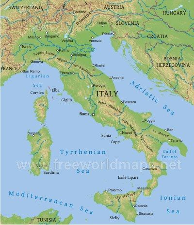 Physical Map Of Italy Week Homeschool TOG Year Two - Map of italy physical