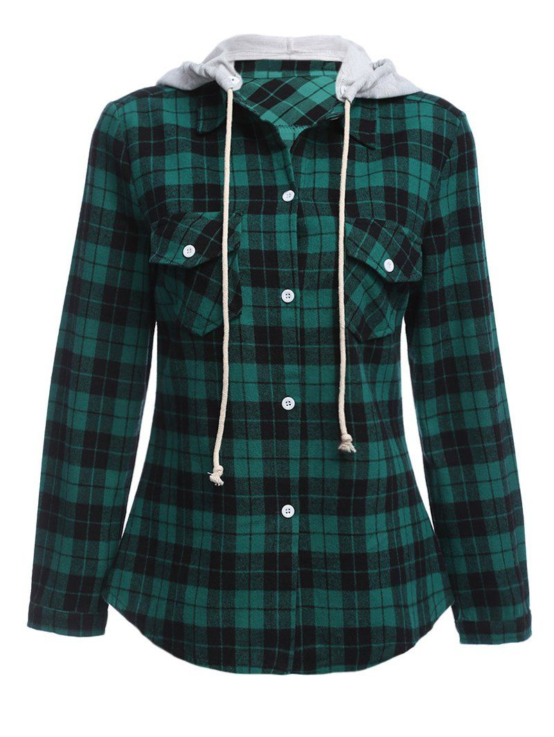 Flannel shirt women  Long Sleeve Drawstring Hooded Plaid Flannel Shirt  DragonsStyle