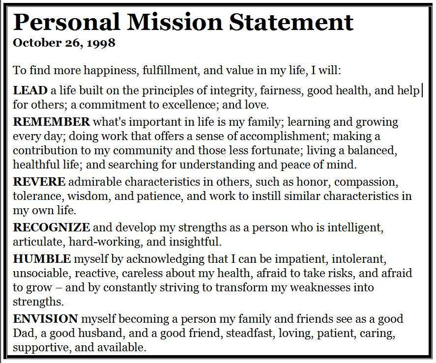 Personal Mission Statement Personal Mission Statement Mission Statement Mission Statement Template