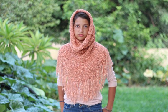 Peach Knit hood cowl hooded neck warmer with fringes by ettygeller, $34.00