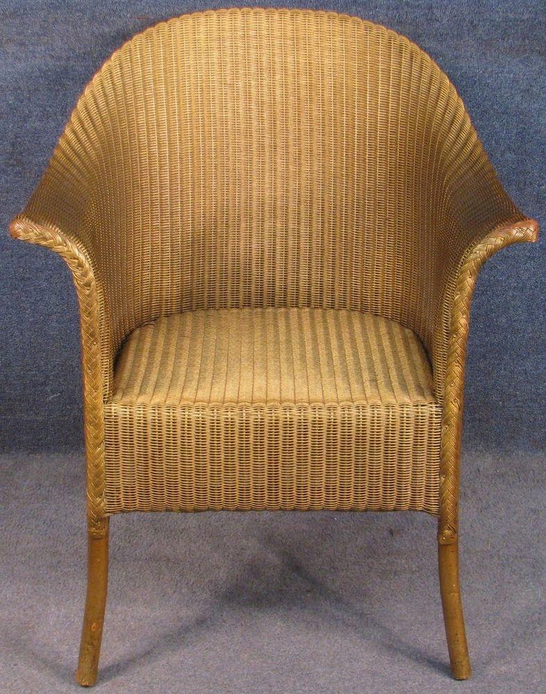 Sensational 1930S Lusty Lloyd Loom Gold Coloured Armchair Side Chair Ibusinesslaw Wood Chair Design Ideas Ibusinesslaworg