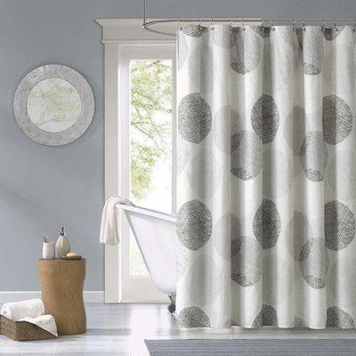 Zipcode Design Jeske Microfiber Single Shower Curtain Fabric Shower Curtains Gray Shower Curtains Bathroom