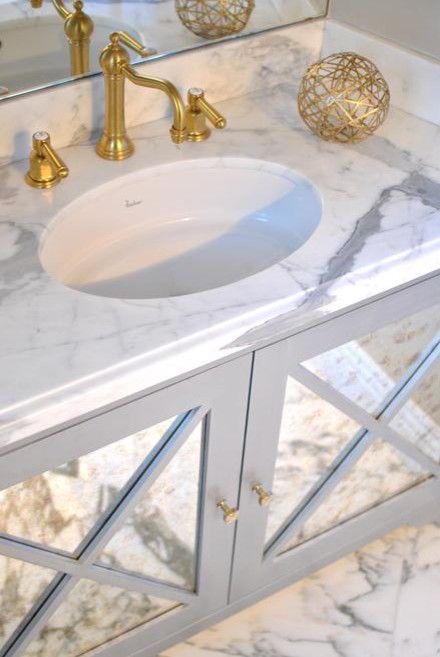 Gray Bathroom Vanity With Mirrored Doors Transitional Bathroom Grey Bathroom Vanity Elegant Bathroom Mirror Door Mirrored bathroom vanity with sink