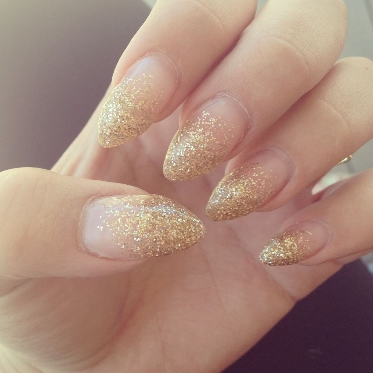 Gold Tipped Ombre Stilleto Nails But Would Be Cute With A Natural Glittery Pink