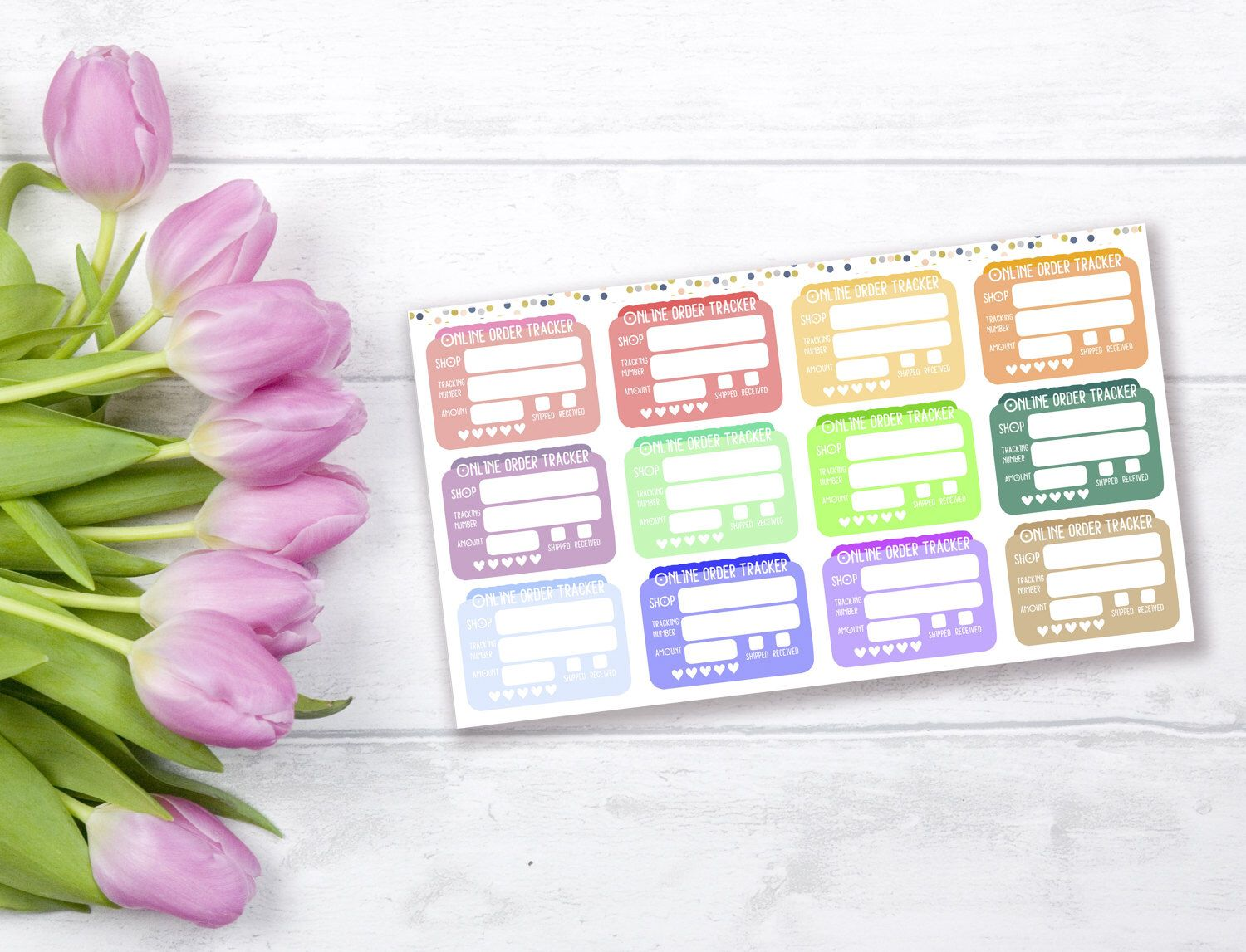 6d176e0ca2f89 Printable online order tracker stickers, Etsy orders stickers ...
