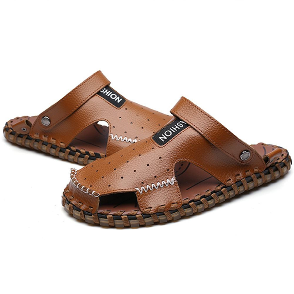 6fa45d073f3b Sale 14% (27.99 ) - Men Summer Leather Sandal Shoes Casual Round Toe ...