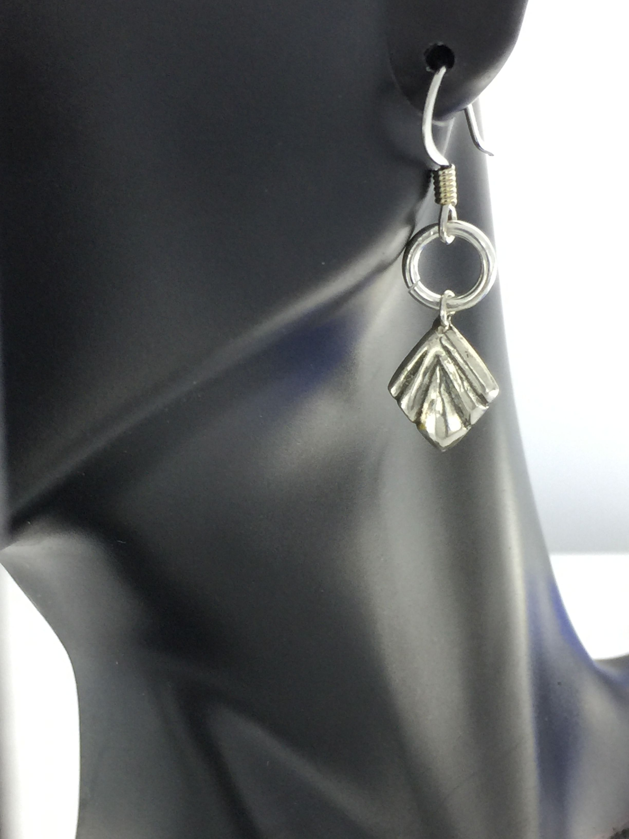 Silver Diamond Shaped Charm Dangling On An 8mm Jump Ring From A French Earwire Made Of High Grade Surgical Stainless Steel Great For Sensitive Ears