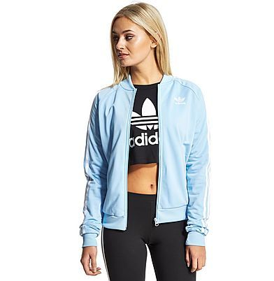 light blue adidas superstar track top