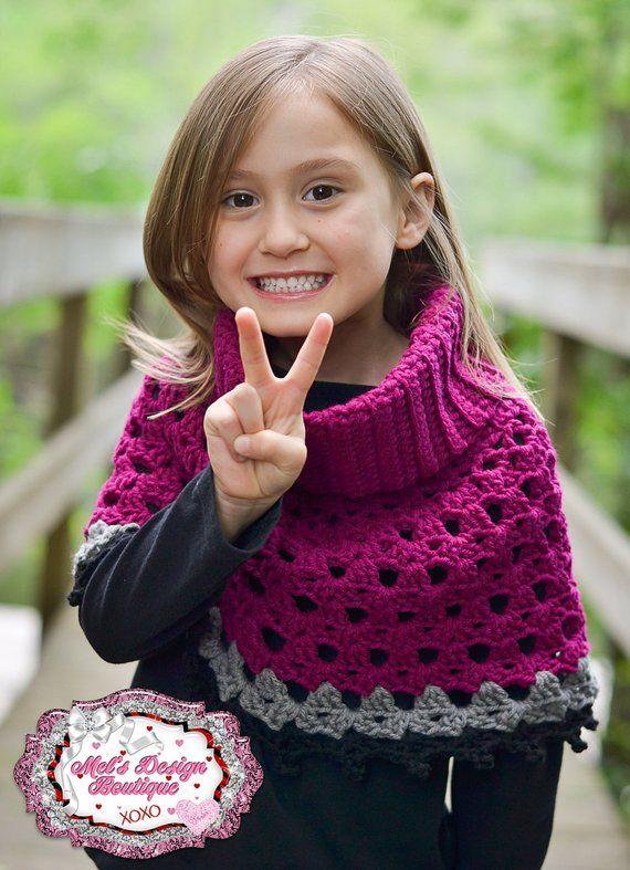 Crochet poncho girls crochet cowl neck poncho toddler shawl crochet