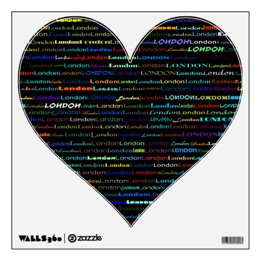 London Text Design I Wall Decal Plain Heart Wall Decals Shapes