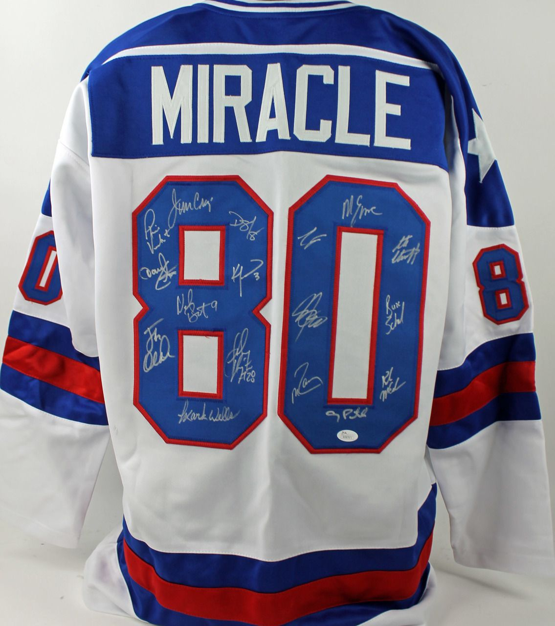 1980 Usa Hockey Miracle Team 17 Autographed White Jersey 742 99 This Is A Authentic Signed White Jersey That Has Bee Usa Hockey White Jersey Varsity Jacket
