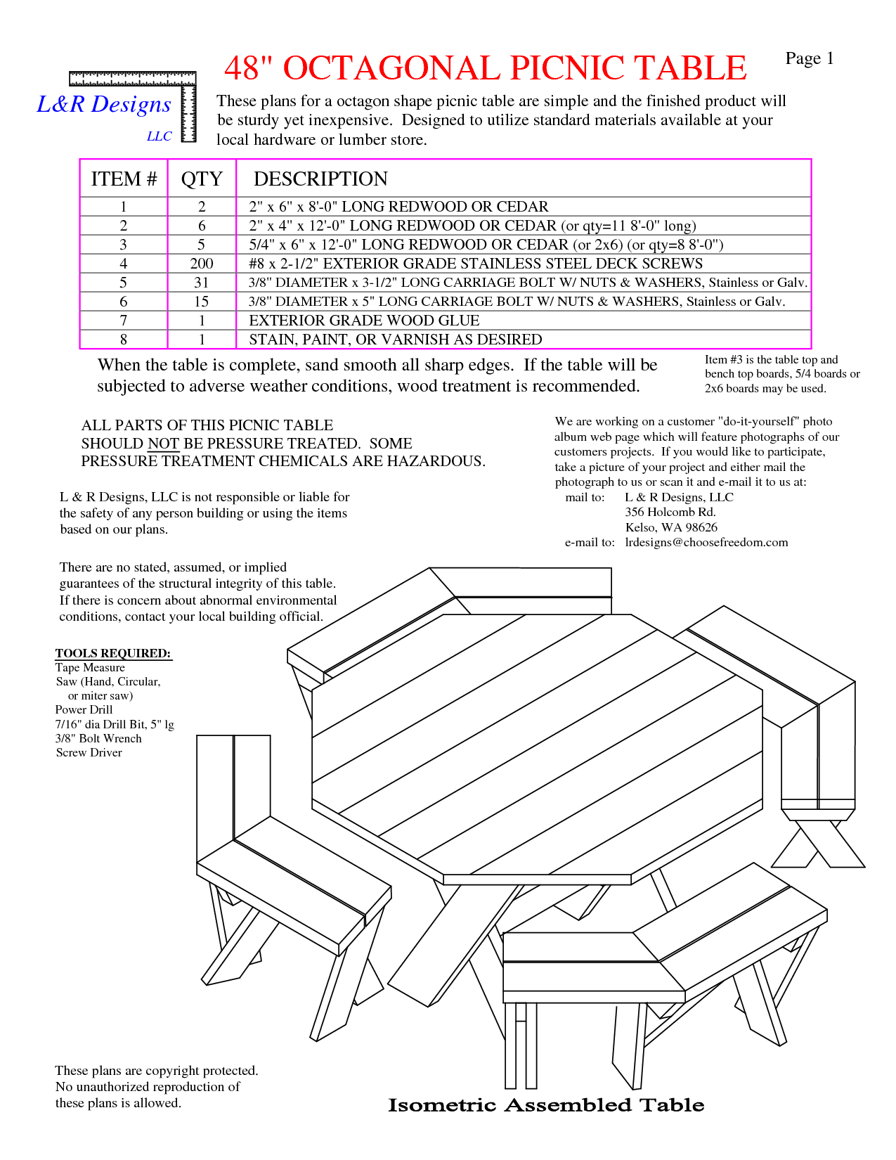 Picnic table free octagon walk in picnic table plans free for Octagon deck plans free