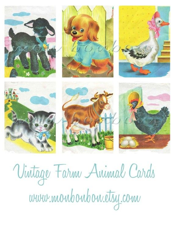 Digital Download Vintage Retro Childrens Farm Animal Book Illustrations Collage Sheet