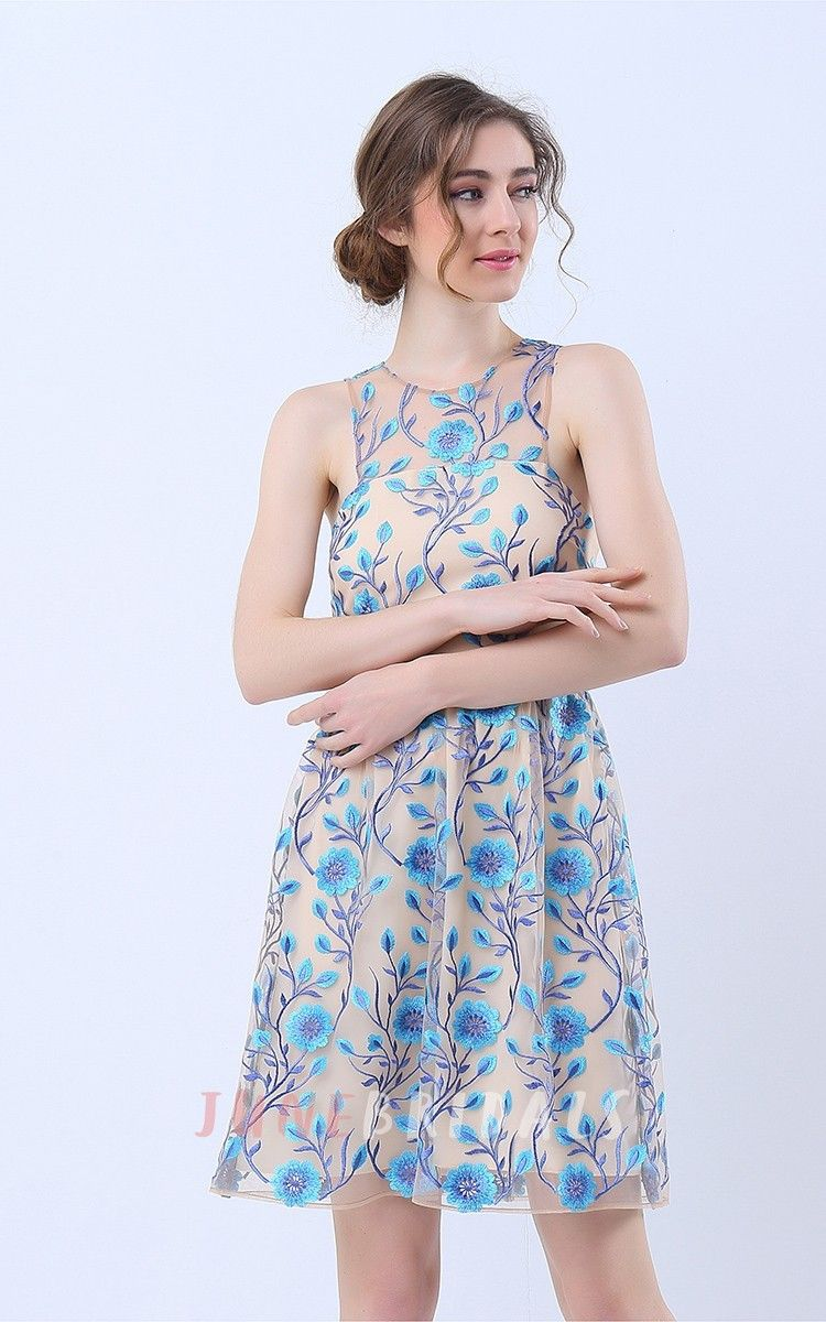 Printed halter neck short dress with keyhole back wedding guest